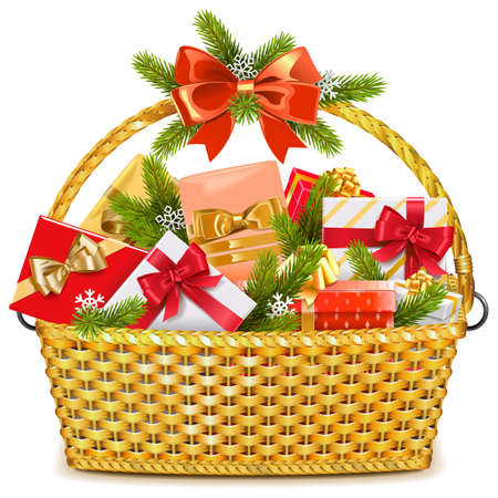 Vector Basket with Christmas Gifts isolated on white background