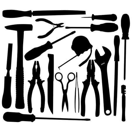 Vector Black Hand Tool Pictograms isolated on white background