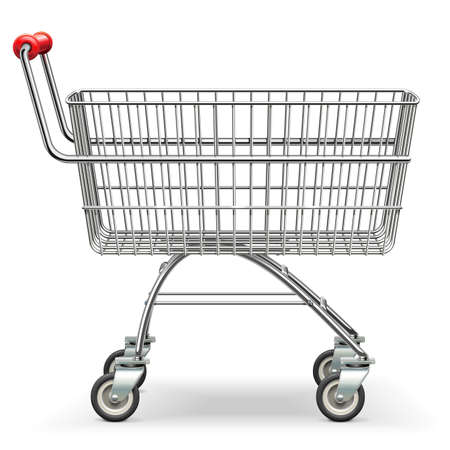 Vector Empty Supermarket Trolley isolated on white background