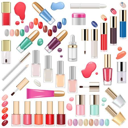 Vector Nails Makeup Cosmetics isolato su sfondo bianco Archivio Fotografico - 88896957