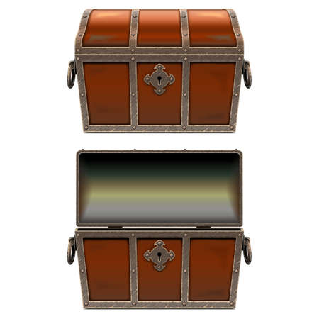 Vector Old Fairy Chest isolated on white background