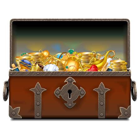 ベクター古い海賊鍛造胸を白い背景に分離された金