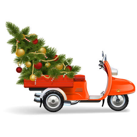 Vector Orange Scooters with Christmas Tree isolated on white background