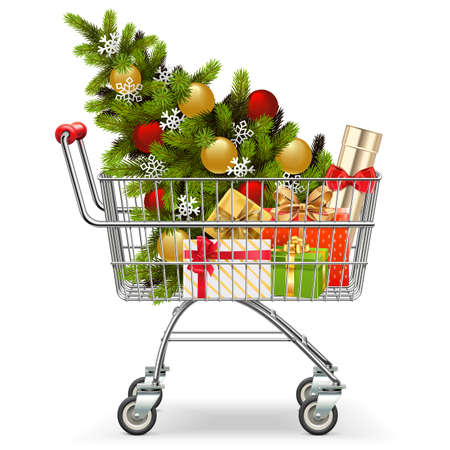 Vector Supermarket Cart with Christmas Tree isolated on white background