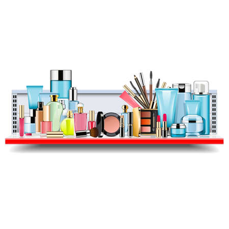 Vector Supermarket Shelf with Cosmetics isolated on white background