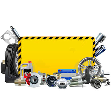 A Vector Car Spares Yellow Frame isolated on white background Vectores