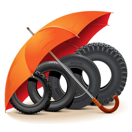 A Vector Car Tires with Umbrella isolated on white background