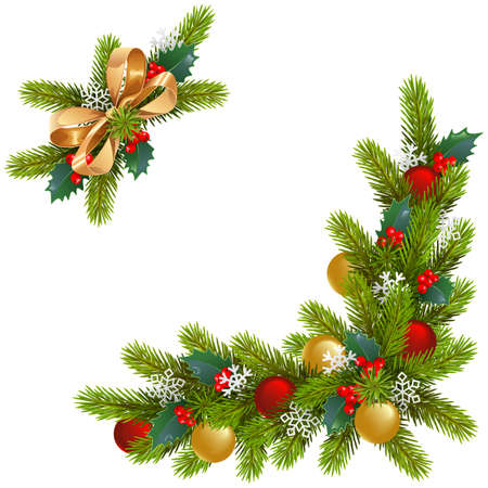 A Vector Christmas Corner Decorations isolated on white background
