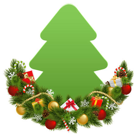 A Vector Christmas Decoration with Paper Fir Tree isolated on white background with baubles