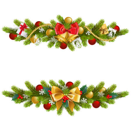 A Vector Christmas Fir Decoration with Bow isolated on white background