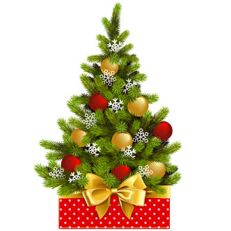 A Vector Red Box with Christmas Tree isolated on white background