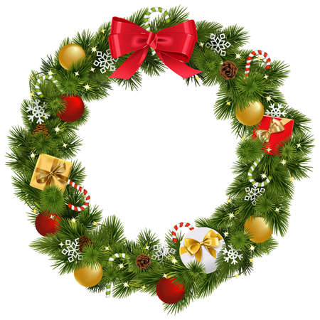 Vector Christmas Wreath with Garland isolated on white background.