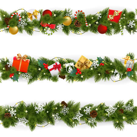 Vector Christmas Border Set with Garland isolated on white background