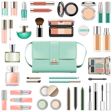 Vector Makeup Cosmetics with Mint Green Handbag isolated on white background Vetores