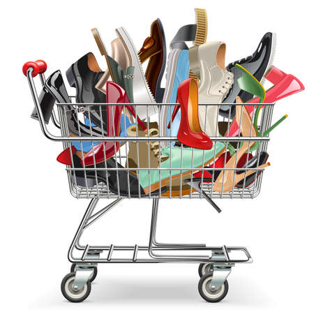 Vector Shopping Cart with Shoes isolated on white background