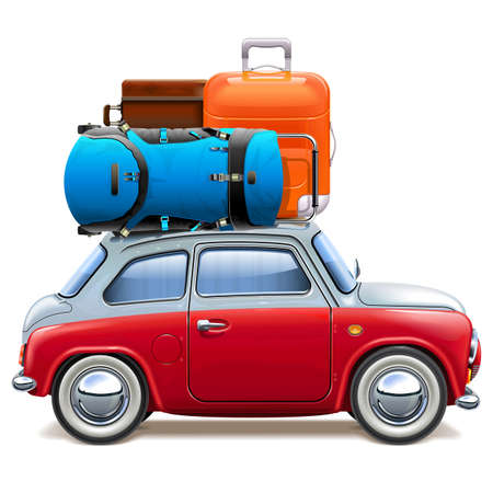 Vector Red Car with Baggage isolated on white background Ilustração