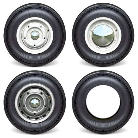 Vector Car Tires with White Steel Disks isolated on white background