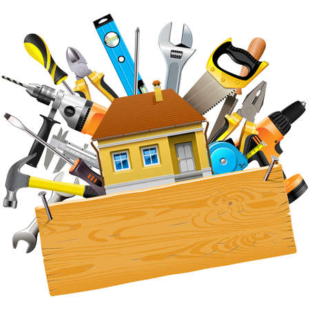 Vector Construction Tools with House isolated on white background