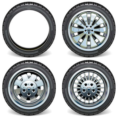 Vector Modern Car Wheels Side View isolated on white background