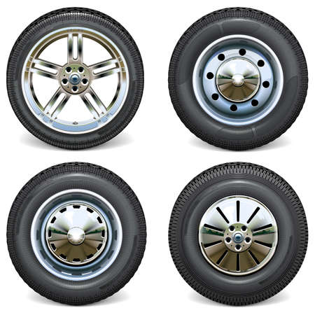 Vector Retro and Modern Car Wheels Side View isolated on white background