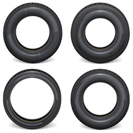 Vector Car Tires Side View isolated on white background