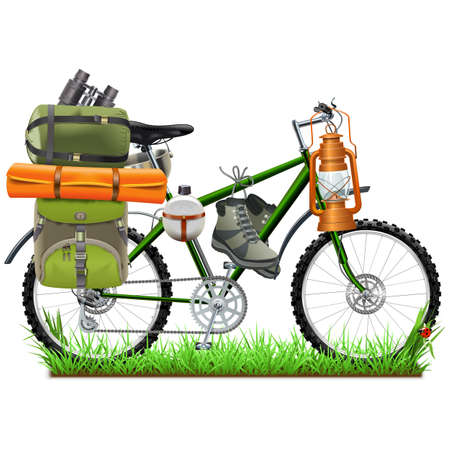 Vector Camping Bicycle isolated on white background Ilustracja
