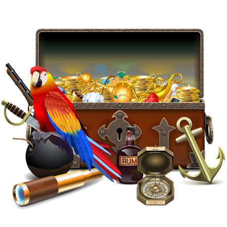 Vector Old Pirate Chest with Treasures isolated on white background Çizim