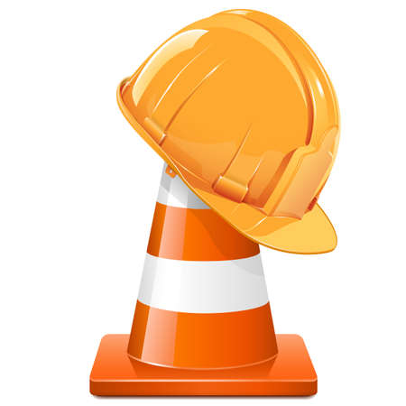 Vector Construction Cone with Helmet isolated on white background Çizim