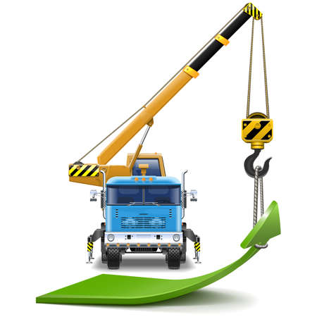 Vector Truck Crane with Green Arrow isolated on white background