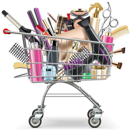 Vector Supermarket Cart with Professional Cosmetics isolated on white background Illustration