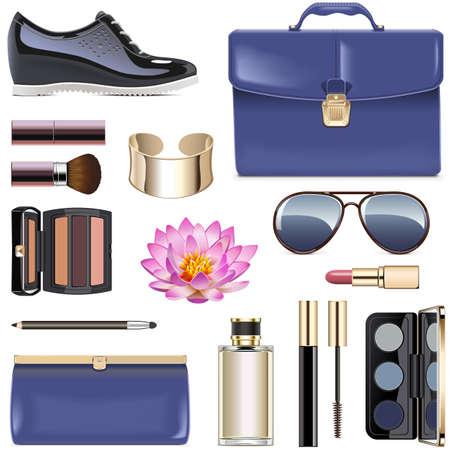 Vector donkerblauwe vrouwelijke accessoires geïsoleerd op een witte achtergrond