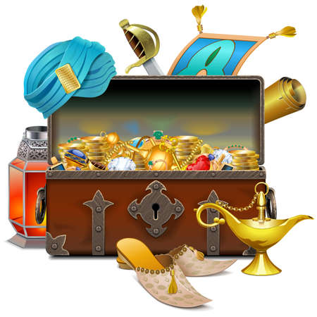 Vector Old Eastern Chest with Treasures isolated on white background Иллюстрация