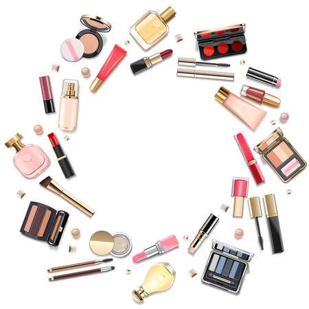 Vektor-rundes Make-up-Kosmetik-Konzept isoliert auf weißem Hintergrund
