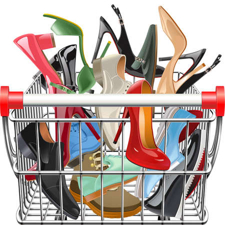 Vector Supermarket Cart with Shoes isolated on white background