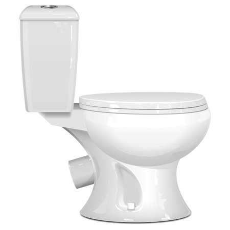 Vector White Toilet Bowl isolated on white background