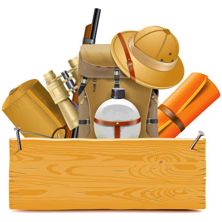 Vector Wooden Board with Safari Accessories isolated on white background
