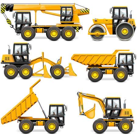 vecteur, jaune, construction, machines, ensemble, 2, isolé, blanc, fond Vecteurs