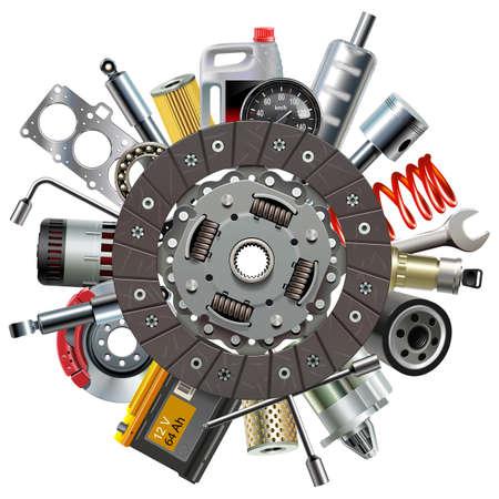 Concept de pièces de rechange de voiture de vecteur avec disque d'embrayage isolé sur fond blanc Vecteurs