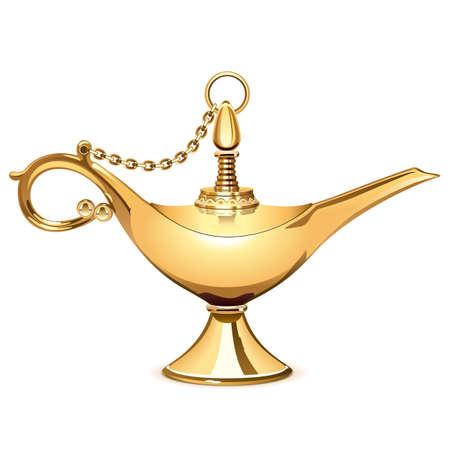Goldene Lampe der Vektormagie lokalisiert auf weißem Hintergrund Vektorgrafik