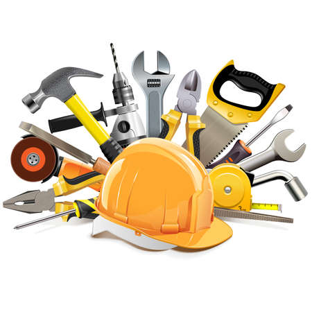 Vector Orange Construction Helmet with Hand Tools isolated on white background Illustration