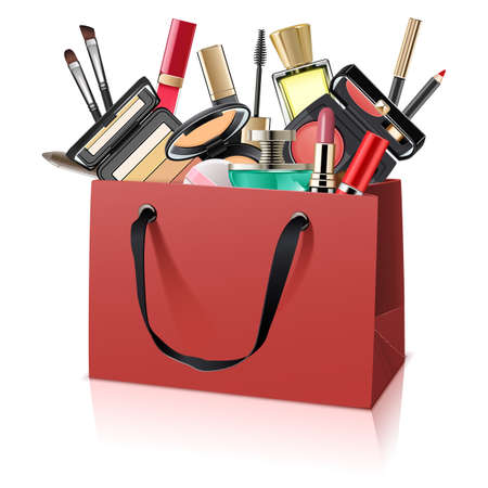 Vector Paper Bag with Makeup Cosmetics isolated on white background Vetores