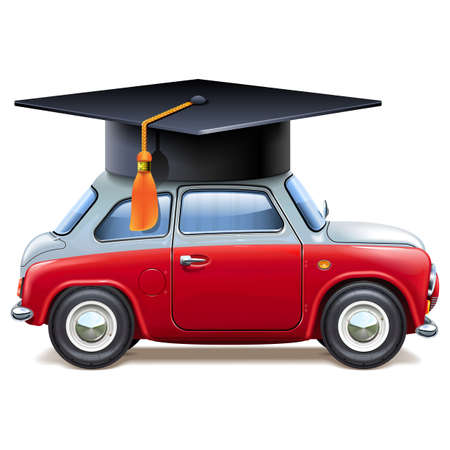 Vector Red Car with Square Academic Cap isolated on white background