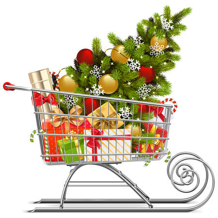 Vector Supermarket Sleigh with Christmas Decorations isolated on white background