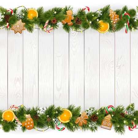 Vector Christmas Background with White Plank isolated on white background Иллюстрация