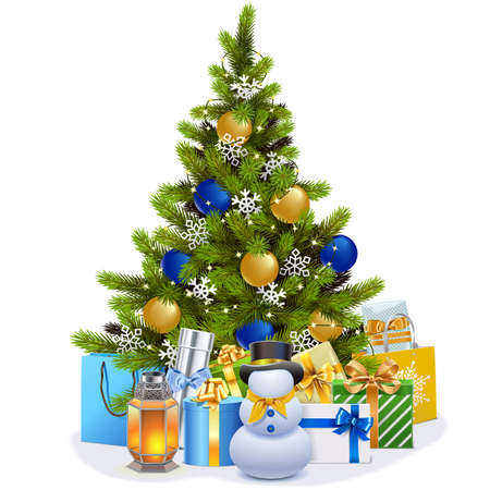 Vector Christmas Fir Tree with Blue Decorations isolated on white background