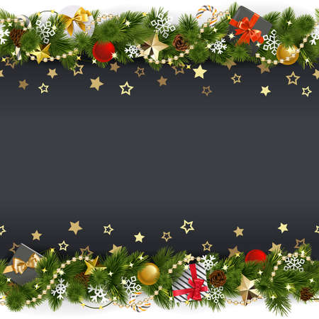 Vector Christmas Background with Stars and Gifts isolated on white background