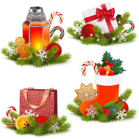 Vector Christmas Concept Icons isolated on white background Иллюстрация