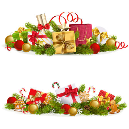 Vector Christmas Concept with Gifts isolated on white background