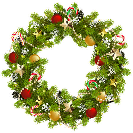 Vector Christmas Fir Wreath with Golden Stars isolated on white background Иллюстрация