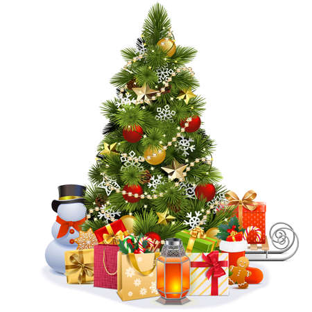 Vector Christmas Pine Tree with Garland isolated on white background